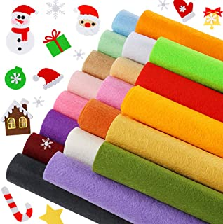 Caydo 20 Pieces Craft Adhesive Back Felt Sheets in 20 Colors Multi-Purpose for DIY Art and Craft Making