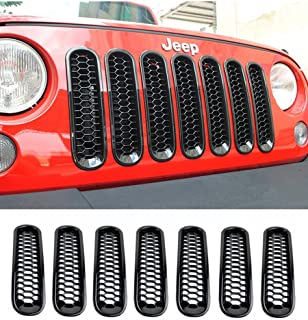 E-cowlboy Black Honeycomb Trim Grill Grille Cover Insert Mesh Frame for Jeep Wrangler JK & Unlimited 2007-2016 - 7 Pieces Kit