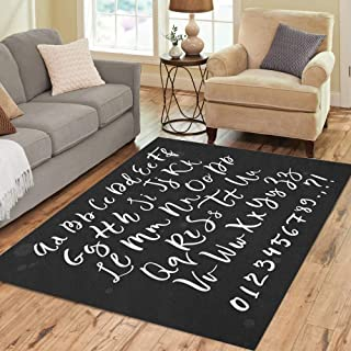 Semtomn Area Rug 5' X 7' ABC Calligraphic Script Brush Letter Hand Lettering Alphabet Typographic Home Decor Collection Floor Rugs Carpet for Living Room Bedroom Dining Room
