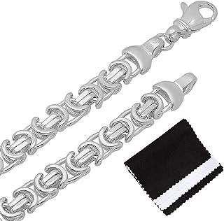 قلادة رجالية من الفضة الإسترلينية عيار 925 مصقولة عالية 8 مم + قطعة قماش وحقيبة مجوهرات