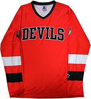 Jersey Devils NHL Mens Long Sleeve Synthetic Shirt Red Big Sizes