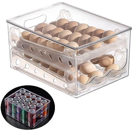 Upgrade Egg Holder for Refrigerator,Double-Layer Acrylic Organizers Fridge Shelf Storage Box,Refrigerator Egg Container with Slide Design,Auto Scrolling Egg Storage Rack,Refrigerator Egg Storage
