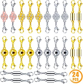 Quacoww 24 Pcs Magnetic Lobster Clasps for Jewelry Necklace Bracelet Spherical Cylindrical Inlaid Rhinestone Spherical
