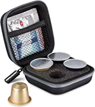 Protective Carrying Case For Nespresso & Compatible Capsules Portable Espresso Maker Coffee Pod Holder PU Material Hard Shell Portable Grey(Holds 4 Pods)