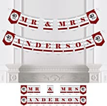 Big Dot of Happiness Custom We Still Do - 40th Wedding Anniversary - Personalized Anniversary Party Bunting Banner & Decoration - Mr & Mrs Custom Name Banner