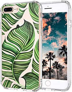 iPhone 7 Plus Case, iPhone 8 Plus Case Clear, MOSNOVO Tropical Banana Leaves Clear Design Slim Hard Back Phone Case with TPU Bumper Protective Cover for iPhone 7 Plus/iPhone 8 Plus