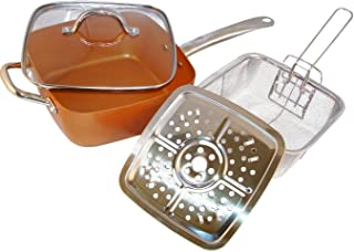 Copper Pan, 5 Piece. Square Pan, Glass Lid, Steamer, Frying Basket, Steamer Stands, Induction Base Non Stick, Dish Washer Safe