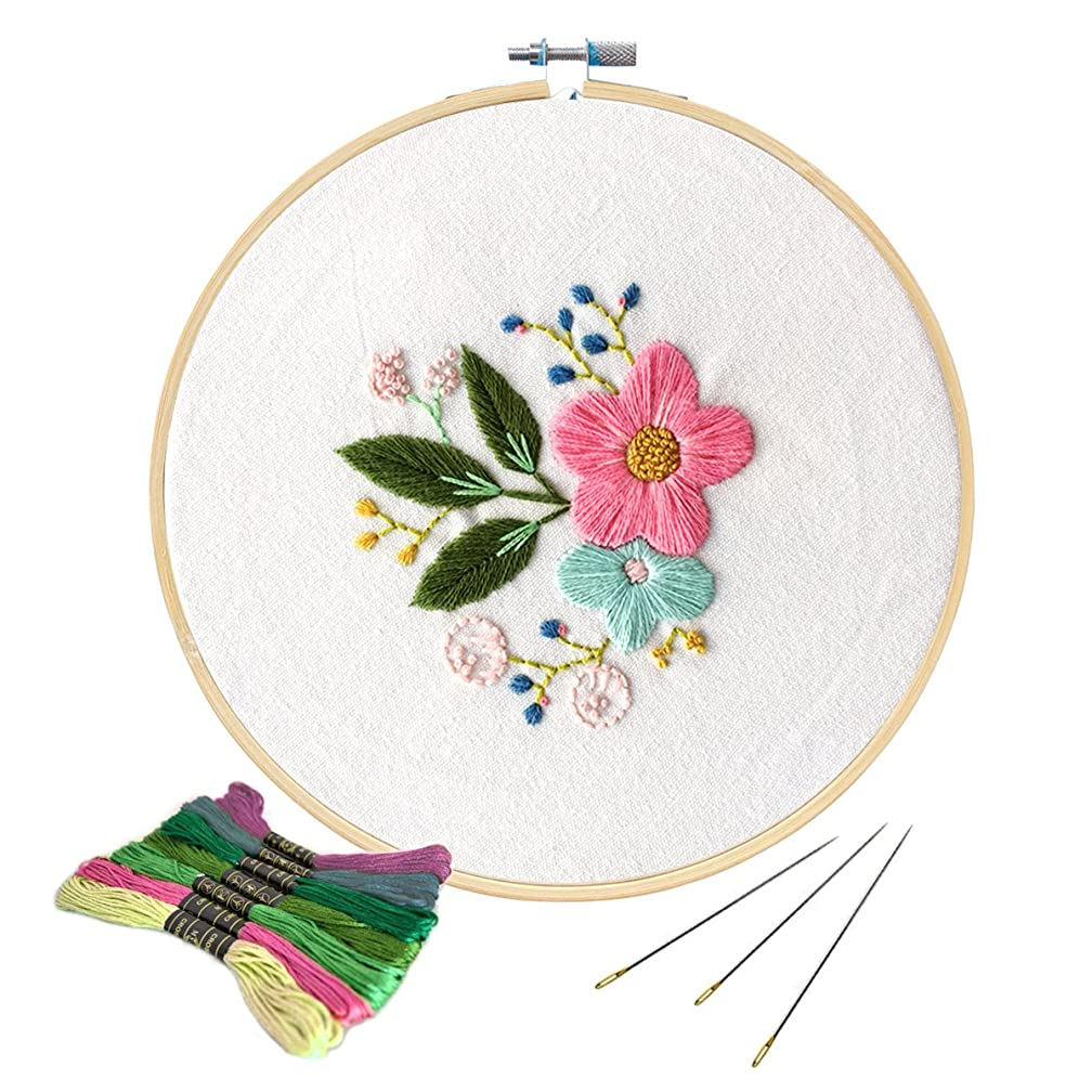 Unime Full Range of Embroidery Starter Kit with Partten, Cross Stitch Kit Including Embroidery Cloth with Color Pattern, Bamboo Embroidery Hoop, Color Threads, and Tools Kit (Posy)