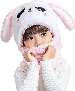 Jelord - Gorra Bufanda 2 en 1 de Felpa Sombrero Invierno para Bebé Niñas Niños Caliente Gorros con Orejeras de Diseño Anim...