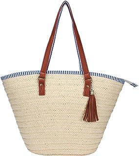 97b4f0e44283bc Sornean Straw Beach Bag Handbags Shoulder Bag Tote,Cotton Lining,PU Leather  Handle-