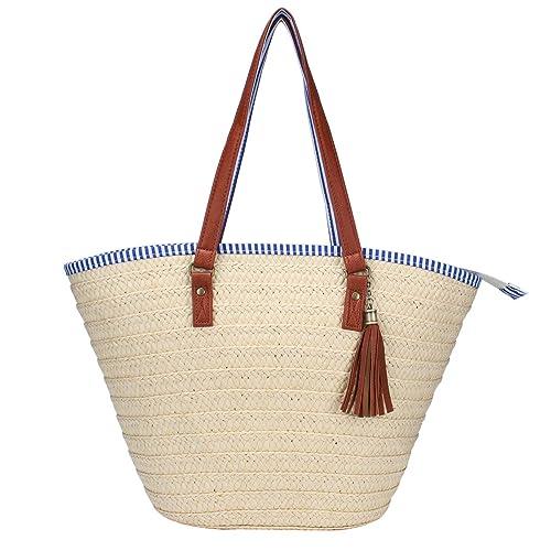 87c18fc1a4a0 Sornean Straw Beach Bag Handbags Shoulder Bag Tote,Cotton Lining,PU Leather  Handle-