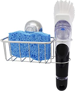 The Crown Choice Upgraded Adhesive Sponge Holder | Patented in Sink Brush Caddy | Stainless Steel Organization Does Not Fall. No Suction Magnetic Basket for Sponges, Scrubbers, Dish Brushes