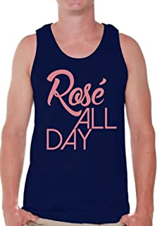 Pekatees Rosé All Day Tank Top for Men Funny Drunk Muscle Shirt Wine Tank Top
