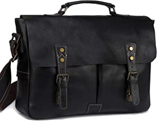 Leather Messenger Bag for Men, VASCHY Handmade Full Cowhide Leather Vintage Satchel 15.6 inch Laptop Business Briefcase