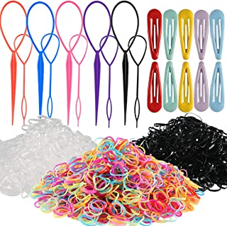 Elastic Hair Bands, SWS Hair Braid Kit with 4000pcs Multi Color Girl Hair Bands,10pcs Topsy Tails and 10pcs 2 inch Hair Clips for Girls Women