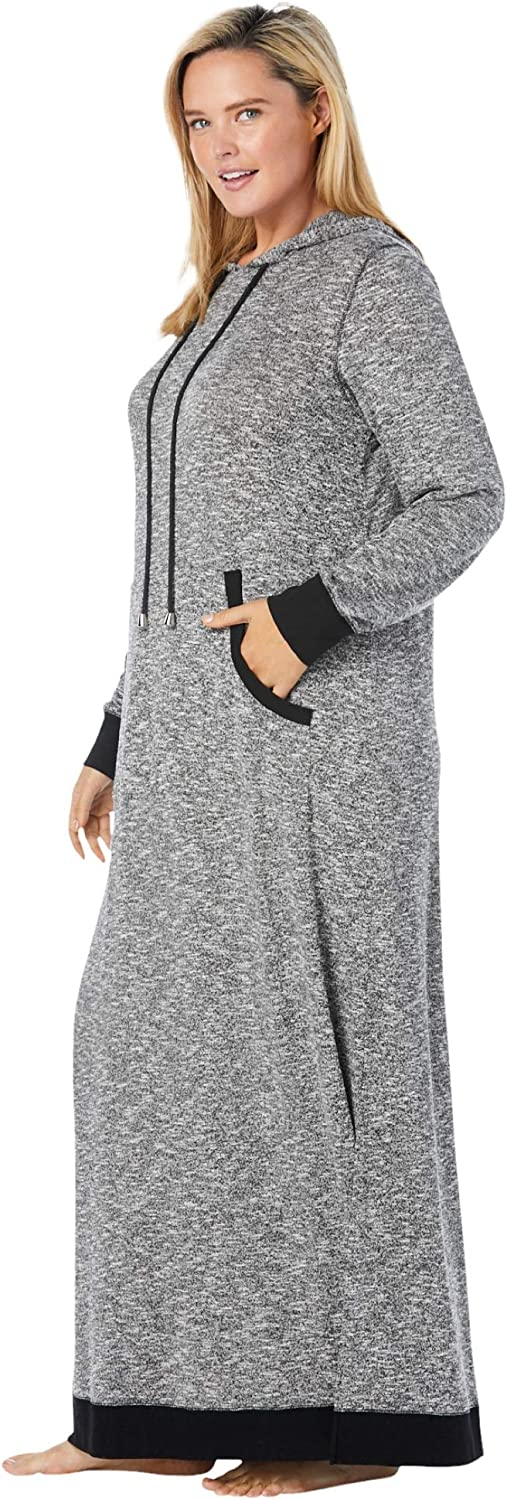 Dreams & Co. Women's Plus Size Marled Hoodie Sleep Lounger House Dress or Nightgown