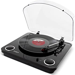 ION Audio Max LP Black |Three Speed Vinyl Conversion Turntable with Stereo Speakers, USB..