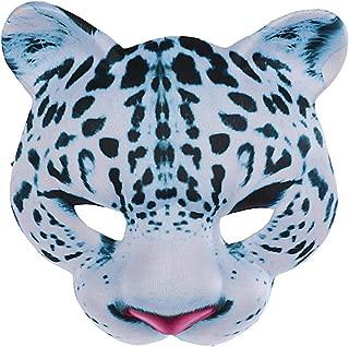 Amosfun Halloween Animal Mask Snow Leopard Mask EVA Half Face Mask for Halloween Carnival Masquerade Party Dress up