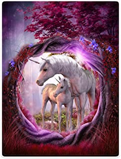 """Blankets Fleece Blanket Throw for Sofa Bed Unicorn Horse Magical Animal Rose Red Tree (50"""" x 80"""")"""