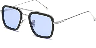 SHEEN KELLY Rétro square des lunettes de soleil cadre métallique pour hommes et femmes lunettes de soleil classique downey...