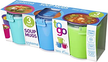 Sistema To Go Microwave Soup Mugs, 656 ml, Assorted Colours - Pack of 3
