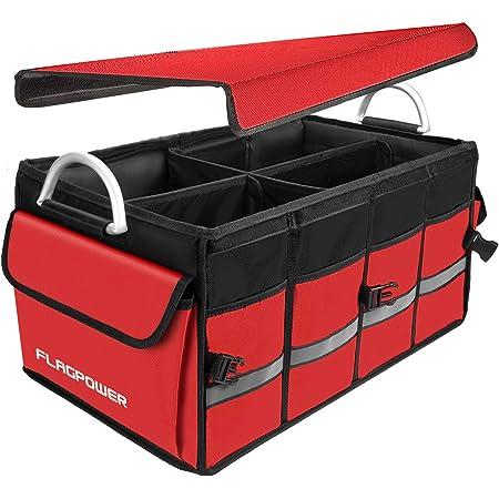 Flagpower Auto Kofferraum Organizer Mit Abnehmbarem Deckel Zusammenklappbare Kofferraumtasche Mit Großer Kapazität Robuste Rutschfeste Kofferraum Aufbewahrungstasche Aus Aluminiumlegierung Rot Auto