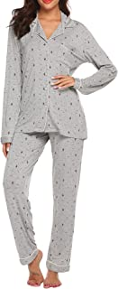 Womens Pajamas Sets Christmas Sleepwear Button Down Nightwear Long Sleeve Comfy Pj Lounge Sets XS-XXL