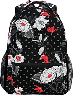 LONSANT Beautiful Softy Blooming Black White Flowers Lightweight School Backpack Students College Bag Travel Hiking Camping Bags