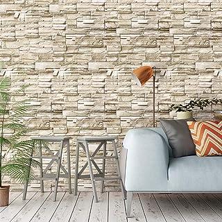 "Homya 3D stone pvc wallpaper 17.7"" x 236"" self-adhesive wallpaper waterproof removable wallpaper background wall for firep..."