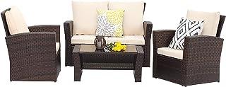 Wisteria Lane 4 Piece Outdoor Patio Furniture Sets, Wicker Conversation Set for Porch..