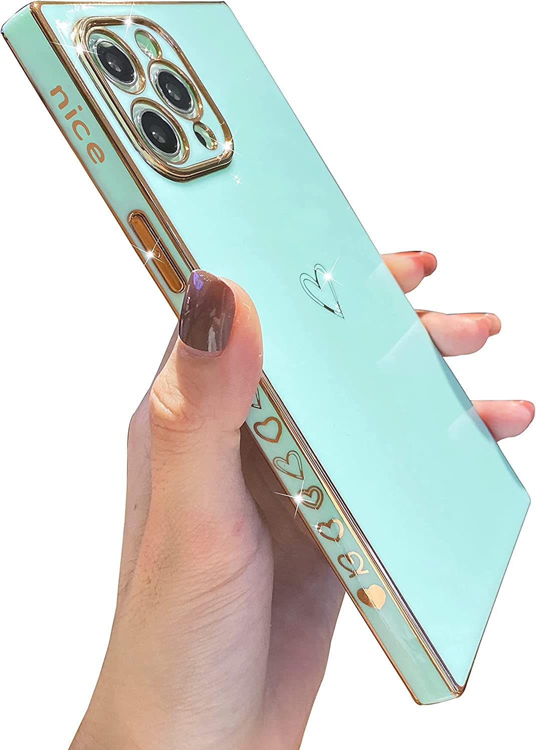 iPhone 11 Pro Max Case Square Edge, Tzomsze Cute Luxury Gold Plating Edge Bumper Case, Full Camera Lens Protection & Shockproof Reinforced Corners Cover Case [6.5 inches] -Green