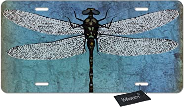 WONDERTIFY License Plate Dragonfly Grunge Blue Vintage Wings Dragon Decorative Car Front License Plate,Vanity Tag,Metal Car Plate,Aluminum Novelty License Plate for Men/Women/Boy/Girls Car,6 X 12Inch