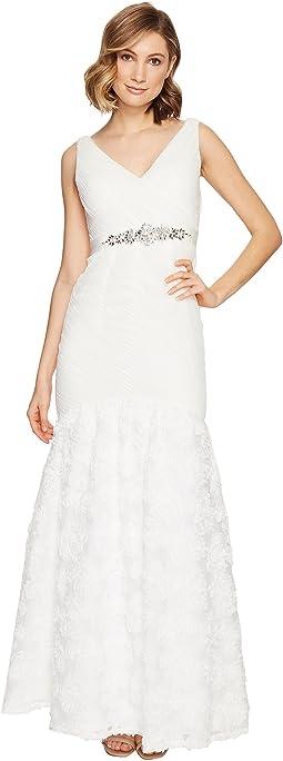 Sleeveless Tulle Chiffon Petal Gown
