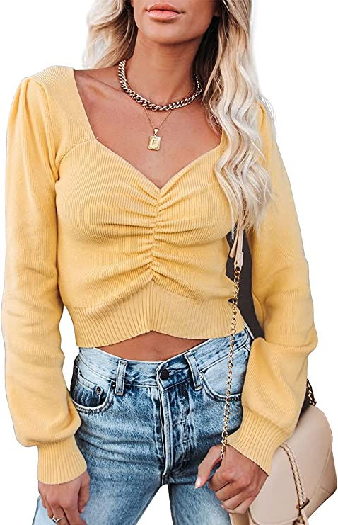 Pofash Women's Casual Deep V Neck Long Sleeve Basic Ruched Pullover Sweaters