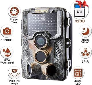Crenova - Cámara de Caza de visión Nocturna por Infrarrojos RD1000 Impermeable con 42 LED Infrarrojos de bajo Brillo cámara de vigilancia Digital