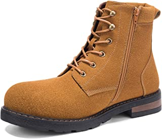 GM GOLAIMAN Men's Snow Boots Winter Combat-Fur Lined Lace Up Zipper Cap Toe Boot for Work Motorcycle Hiking Military Tactical