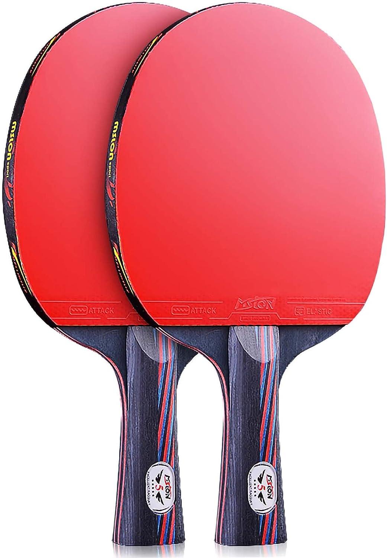 HXFENA Raquetas de Tenis de Mesa,Bate de Tenis de Mesa Profesional de 7 Capas Mango CóModo para Entrenadores Principiantes Expertos/A/mango largo