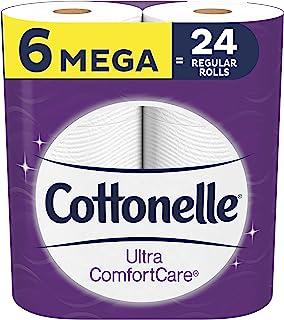 Cottonelle Ultra ComfortCare Toilet Paper, 6 Mega Rolls, Soft Bath Tissue (6 Mega Rolls = 24 Regular Rolls)