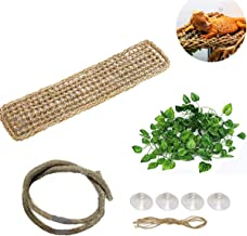 DIDIPET Bearded Dragon Hammock Jungle Climber Vines Flexible Reptile Leaves with Suction Cups Habitat Decor for Climbing Chameleon Lizards Gecko Snakes