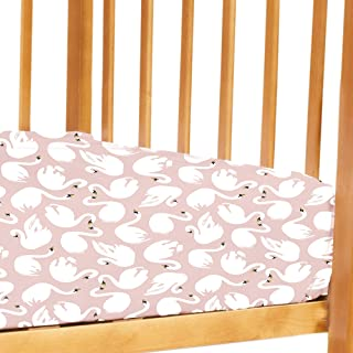 Petit Clouds -100% Pure Organic Cotton Peach Swan 200 TC cot sheet (flatsheet). Fits all standard size baby/toddler cots. ...