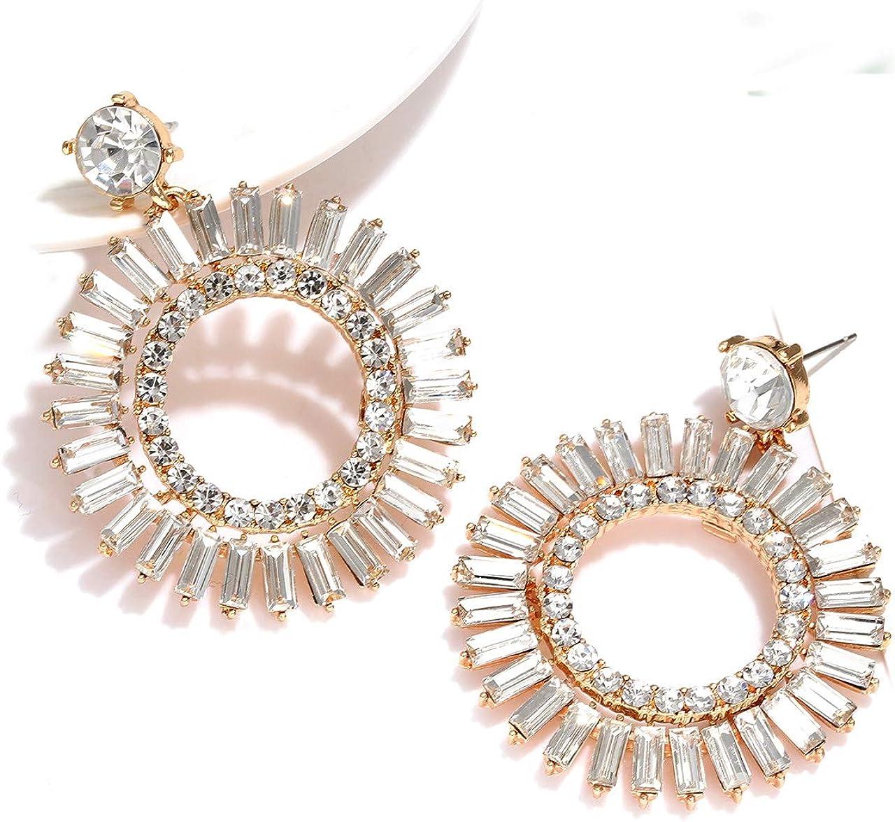 Beaded Hoop Earrings Crystal Glamour Clear