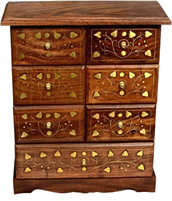 Classical Youth Wooden Jewellery Box & Dressing-Table Storage Organizers (Rose-Wood, 4-Drawer Jewellery Box Set)