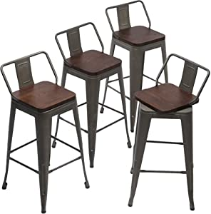 24 Inch Swivel Bar Stools Set of 4 Counter Height Stools Industrial Metal Barstools (24 inch,Rusty)
