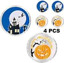 IVLWE Halloween Coins Plated True Silver Coins Decoration Gifts Toys [4pcs] Painted Luminous Pumpkin Lantern & Castle, Witch, Bat, Broom for Trick or Treat Boys Girls Kids (Halloween)