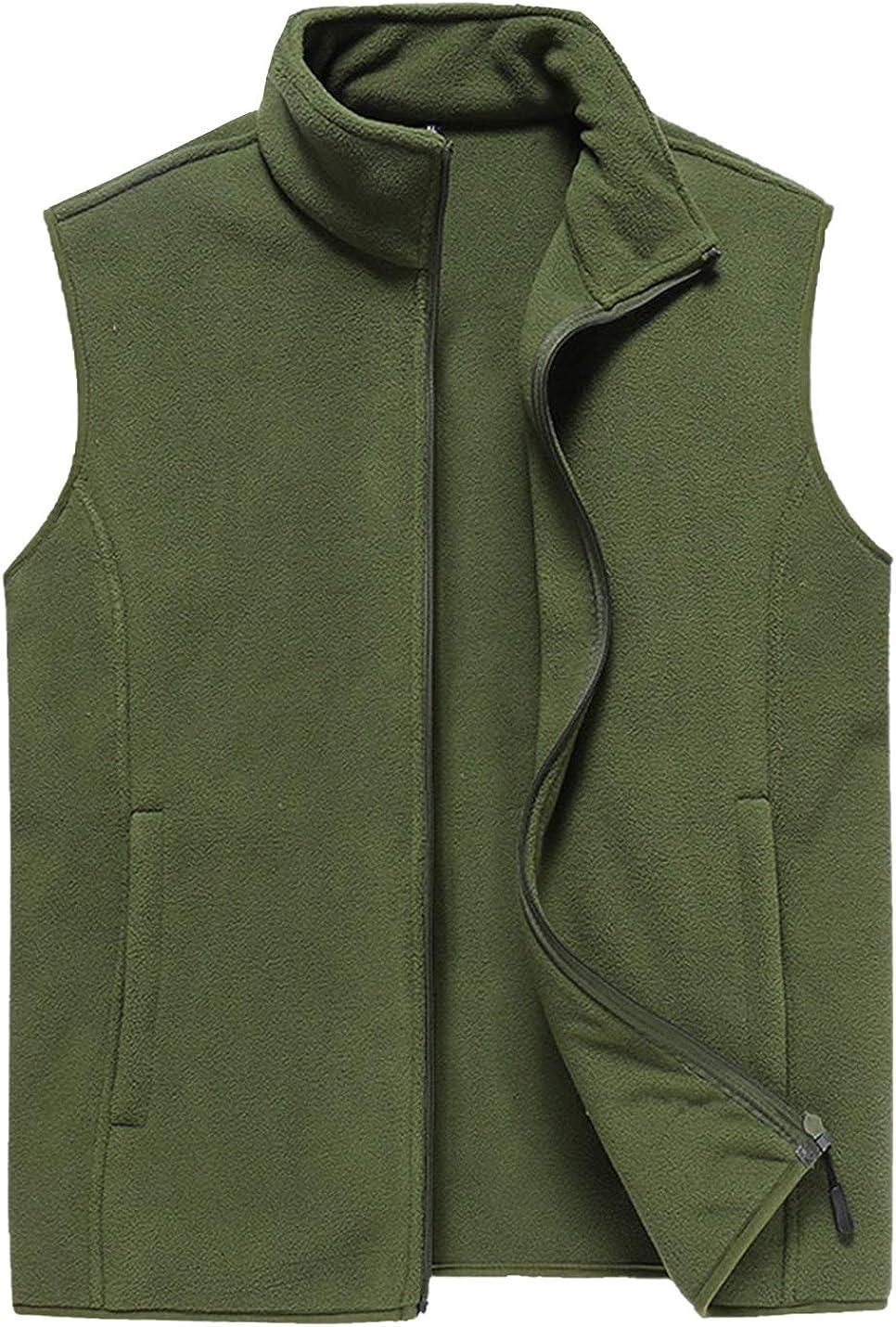 PEHMEA Men's Casual Polar Fleece Vest Winter Warm Stand Collar Full-Zip Lightweight Outwear with Pockets