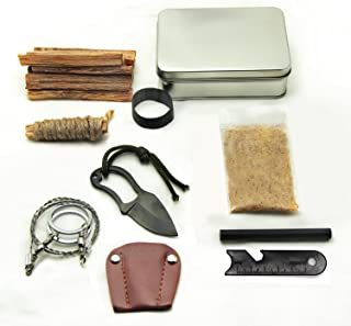 Pocket Survival Fire Starting Tin Fatwood Hand Cut in USA Bushcraft Outdoorsman Hunting Hiking Fishing Ferro Rod Striker Saw Knife Made by Steve Kaeser Since 1989