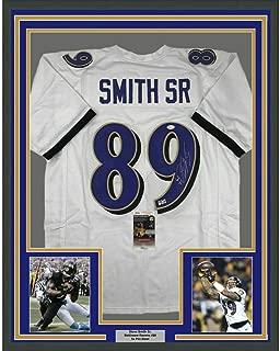Autographed Steve Smith Jersey - FRAMED SR 33x42 White COA - JSA Certified - Autographed NFL Jerseys