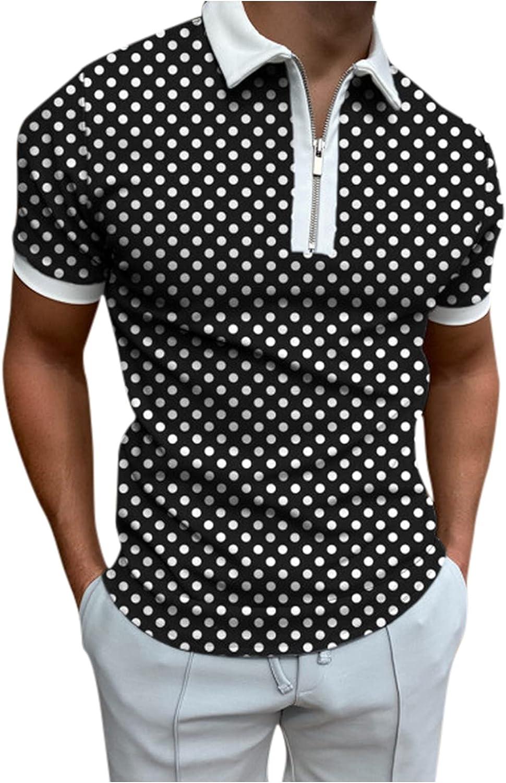 wret Men's Summer Casual T-Shirt Polka Dot Print Slim Shirt Zipper Lapel Short Sleeve