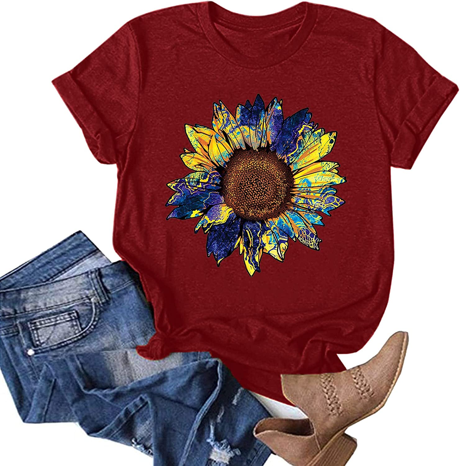 AODONG Tee Shirts for Women Loose Fit, Women's Summer Tops Sunflower Printed Funny Graphic T-Shirts Blouses Tunic Tees
