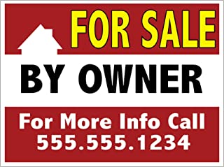 For Sale By Owner Yard Sign, Personalize It With Your Contact Info - Full Color On 18 x 24 Corplast, H Stake Included